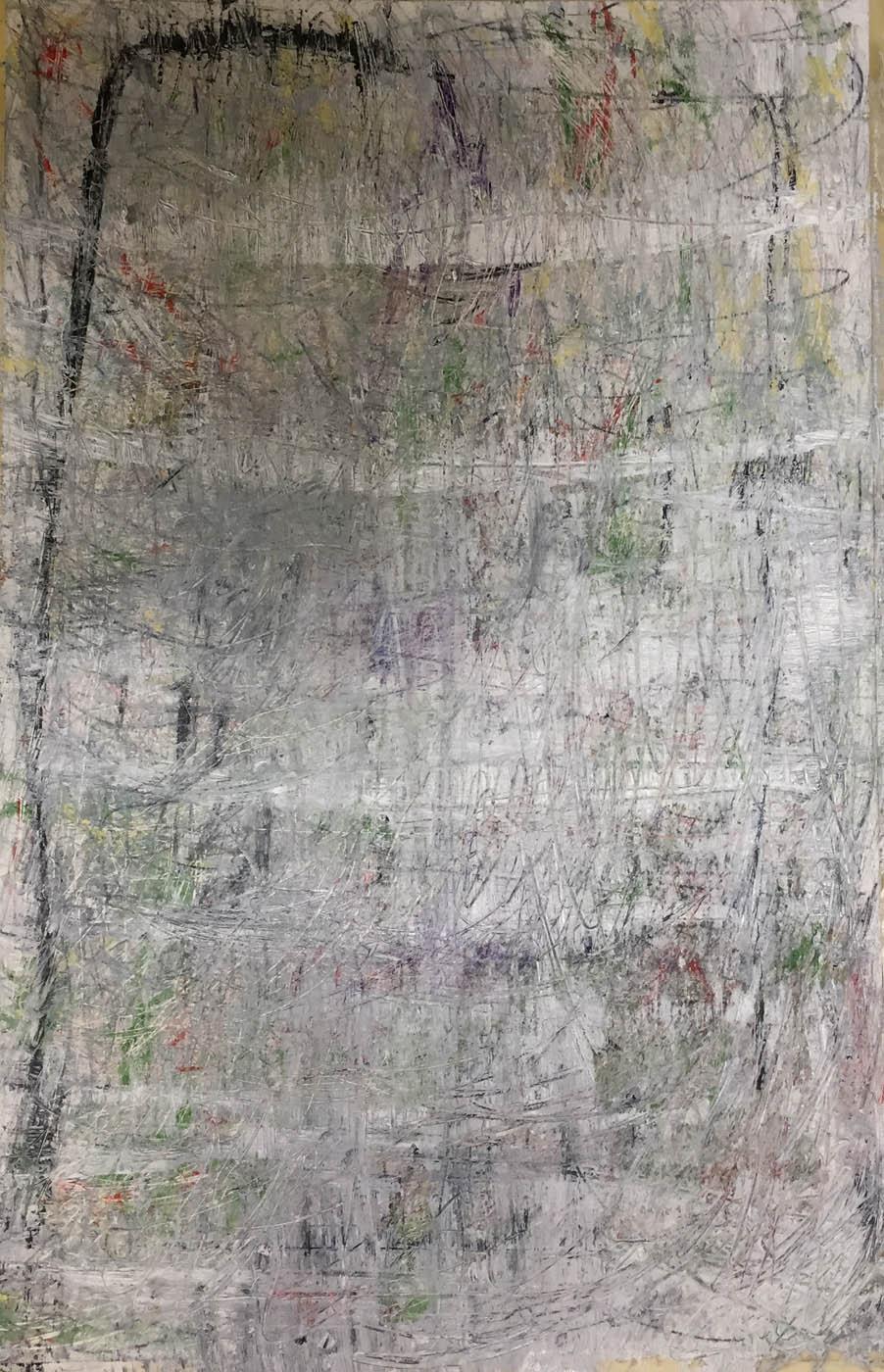 MARC FELD 2018 RITOURNELLE Huile acrylique et mine de plomb sur papier 100 x 65 cm