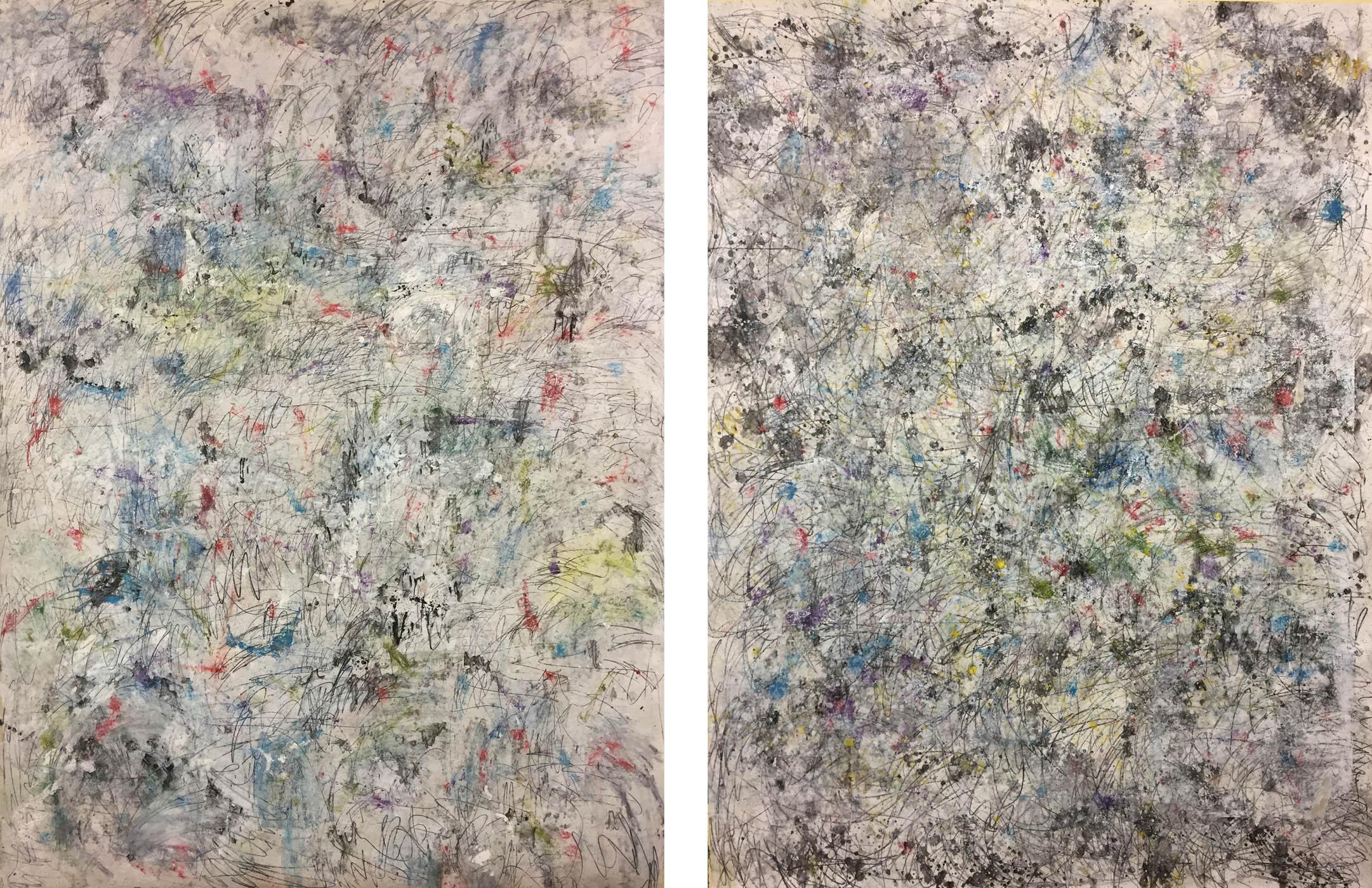 MARC FELD 2019 ÉCHO DES ÉTOILES (diptyque) Huile, gouache et mine de plomb sur papier 2 X 150 x 200 cm