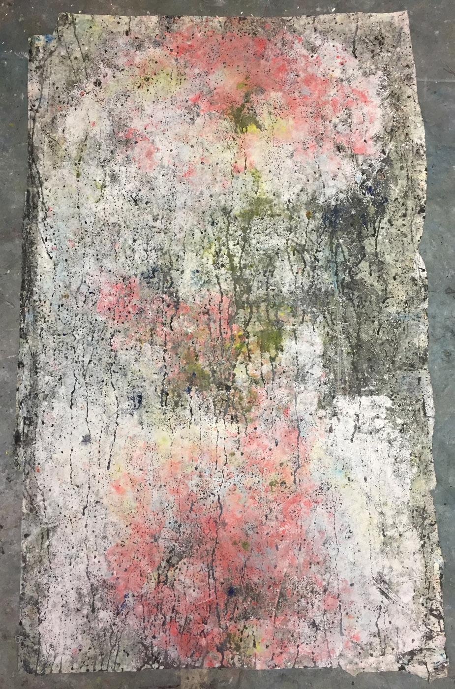 MARC FELD 2019 MEMORY TREE Huile, acrylique et pigment sur papier 100 x 60 b : 65 h cm