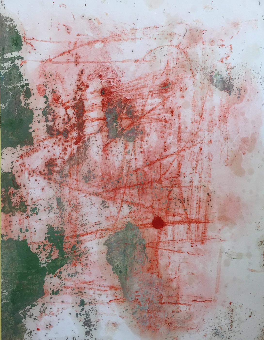 MARC FELD 2019 RED WRITING 1 Pigment et huile sur papier 50 x 65 cm