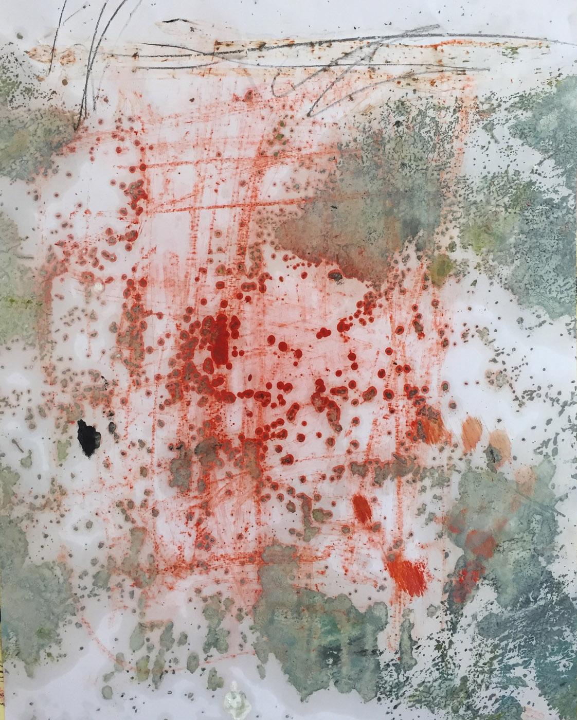 MARC FELD 2019 RED WRITING 2 Pigment, mine de plomb et huile sur papier 50 x 65 cm