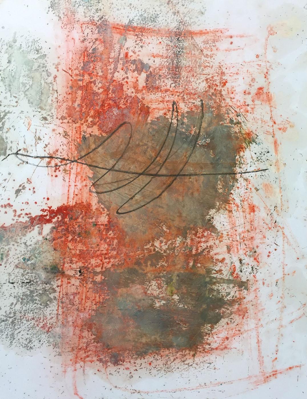 MARC FELD 2019 RED WRITING 5 Pigment, mine de plomb et huile sur papier 50 x 65 cm