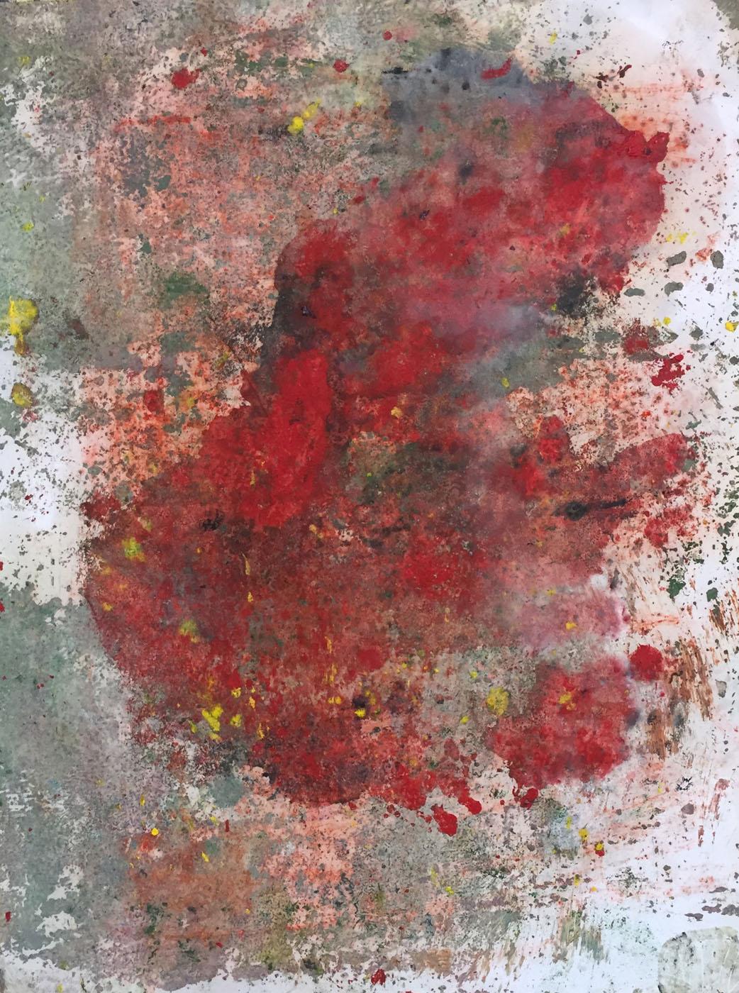 MARC FELD 2019 SANG DES NUAGES 1 Huile et pigment sur papier 50 x 65 cm