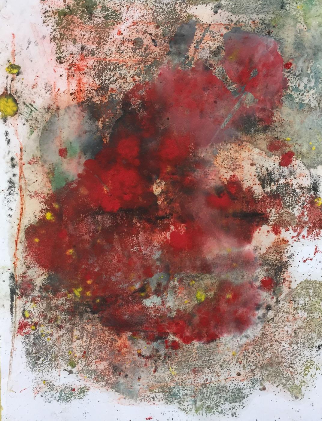 MARC FELD 2019 SANG DES NUAGES 2 Huile et pigment sur papier 50 x 65 cm