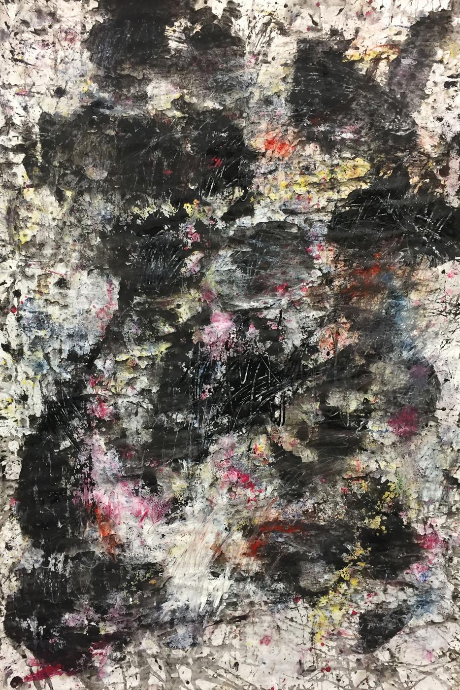MARC FELD 2019 DÉFLAGRATION DES SOURCES 3 Huile, pigment et gouache sur papier 89 X 130 cm