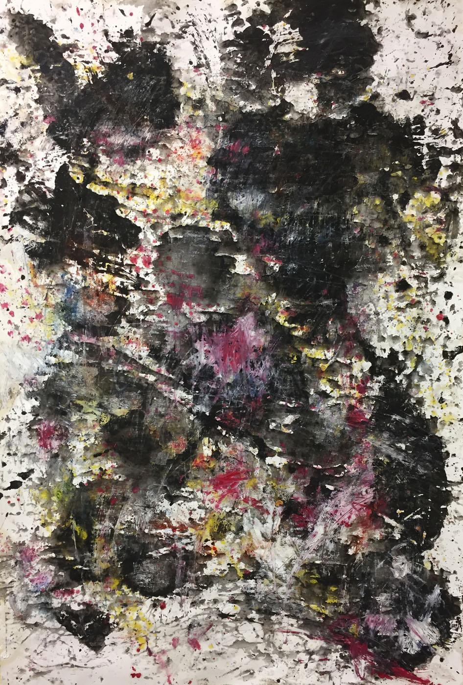 MARC FELD 2019 DÉFLAGRATION DES SOURCES 4 Huile, pigment et gouache sur papier 89 X 130 cm