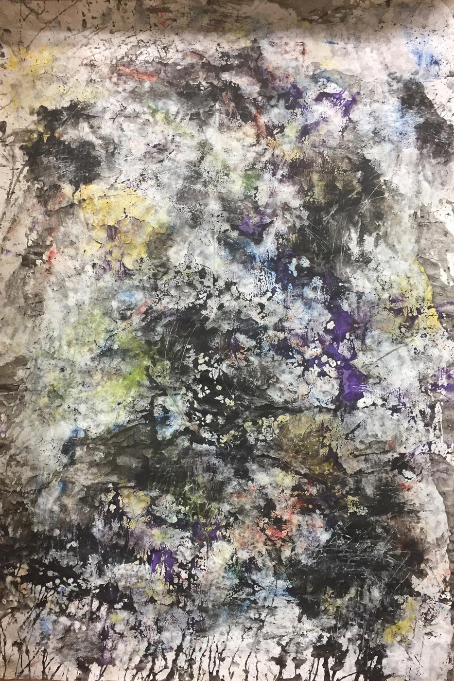 MARC FELD 2019 DÉFLAGRATION DES SOURCES 5 Huile, pigment et gouache sur papier 89 X 130 cm