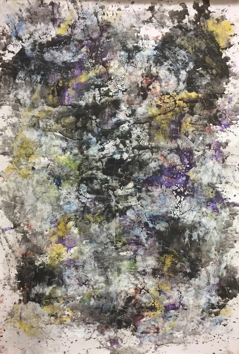 MARC FELD 2019 DÉFLAGRATION DES SOURCES 6 Huile, pigment et gouache sur papier 89 X 130 cm