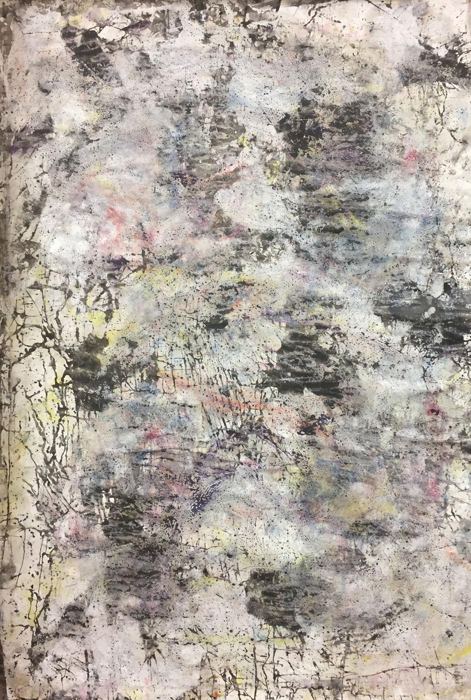 MARC FELD 2019 DÉFLAGRATION DES SOURCES 7 Huile, pigment et gouache sur papier 89 X 130 cm
