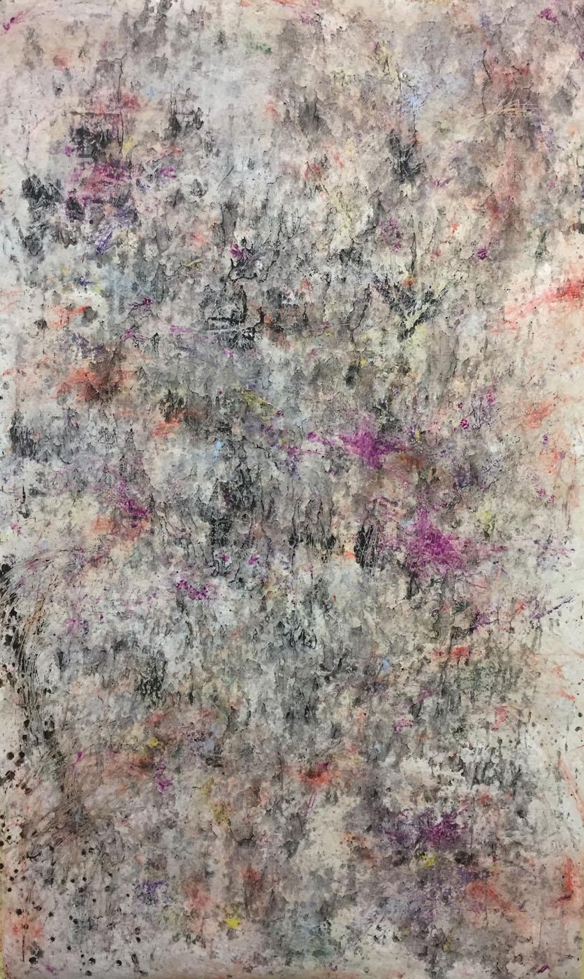 MARC FELD 2019 D'UN BOIS LOINTAIN Huile, pigment, acrylique et gouache sur papier 177 x 96 cm
