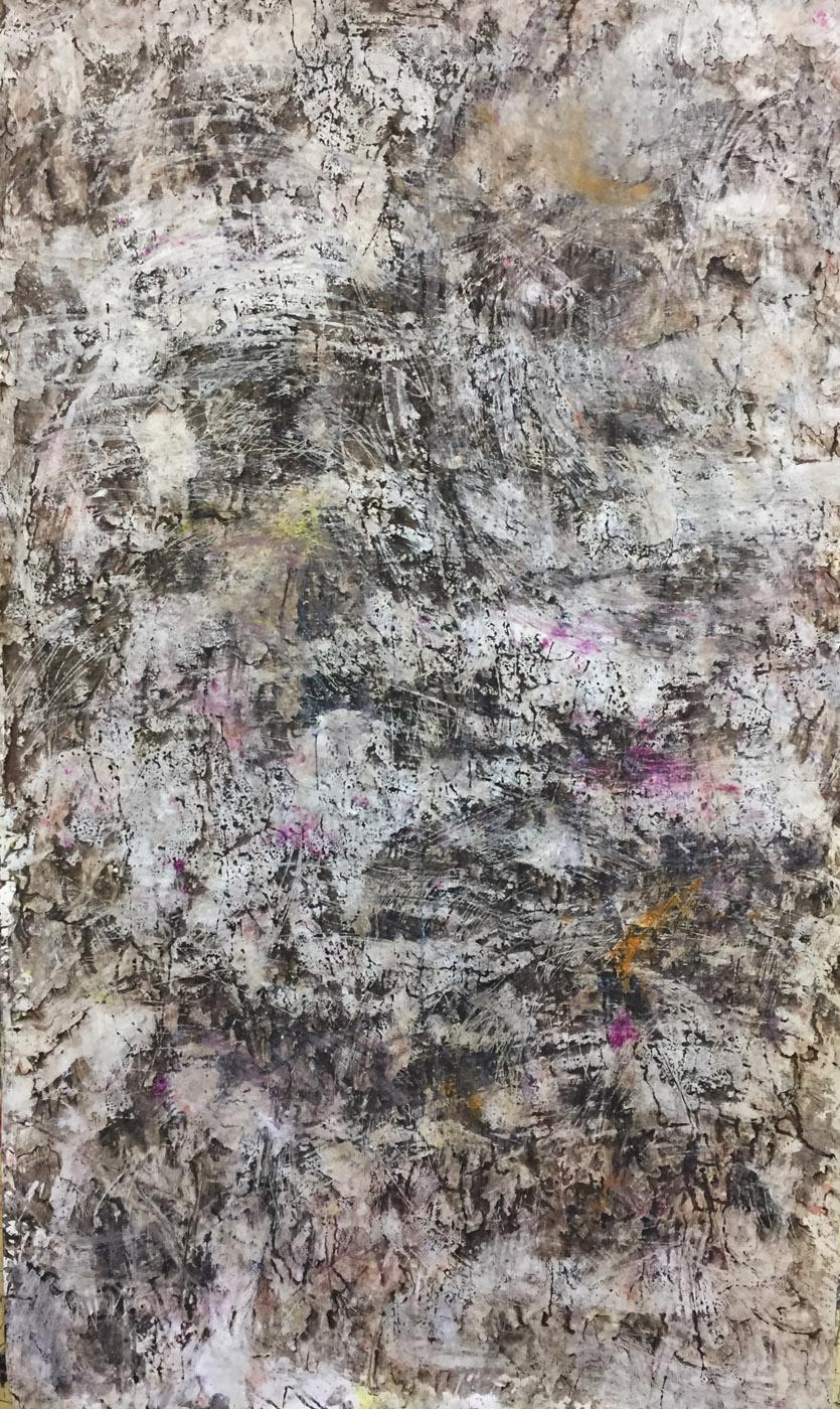 MARC FELD 2019 RÉCIFS Huile, pigment, acrylique et gouache sur papier 177 x 96 cm
