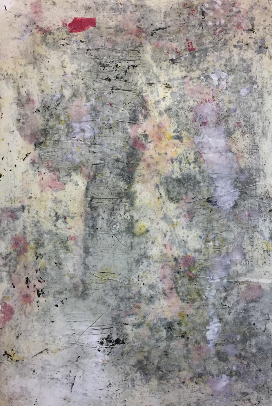 MARC FELD 2019 : 2020 EPISTROPHY 2 ( echo of Thelonius) Huile, pigment et gouache sur papier 89 X 130 cm