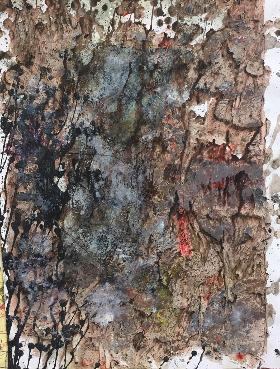 MARC FELD 2020 INSIDE THE WOOD Huile, acrylique et gouache sur papier 50 x 65 cm