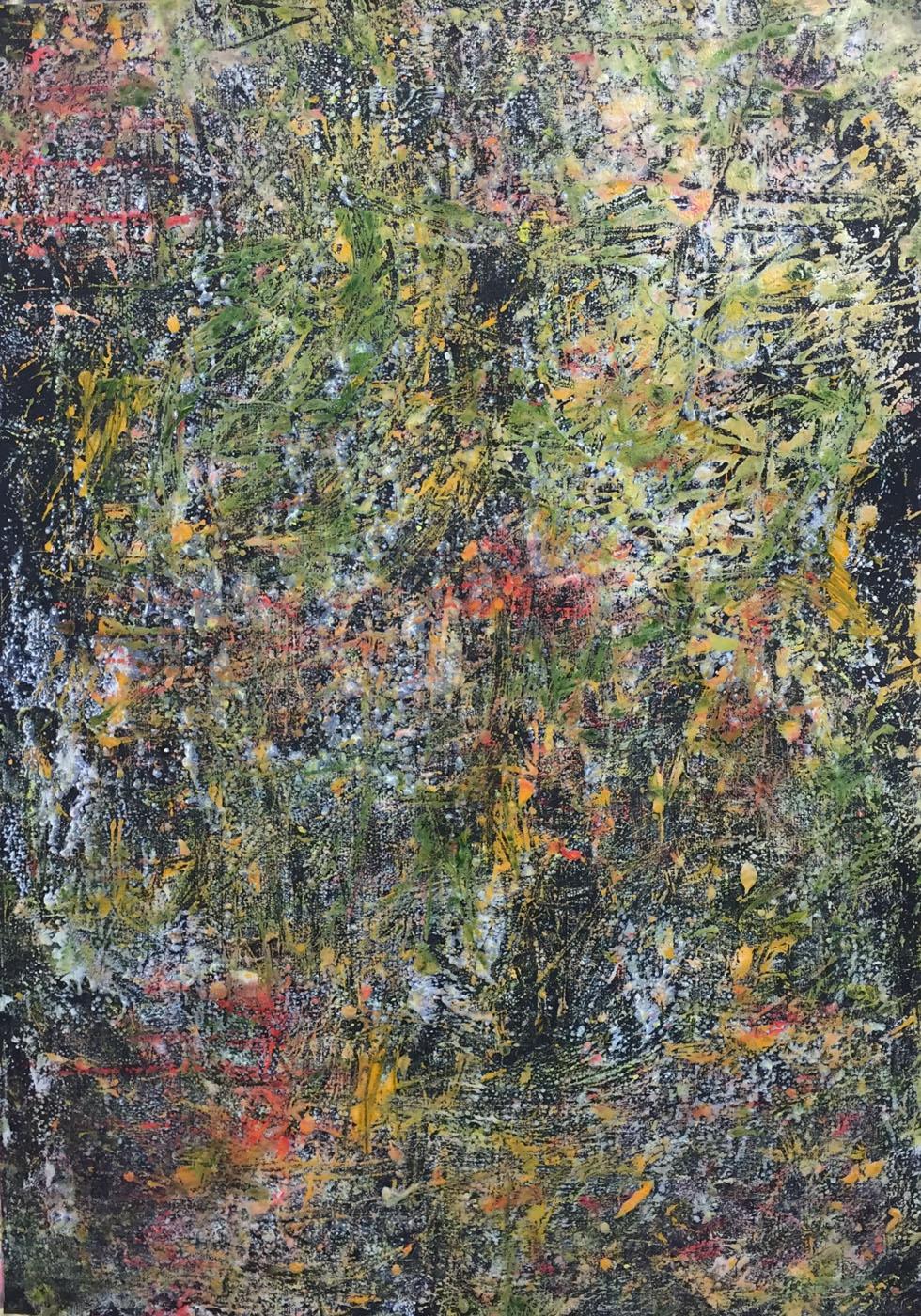 MARC FELD 2020 GROOVE 2 Huile, acrylique et pigment sur papier 70 x 130 cm