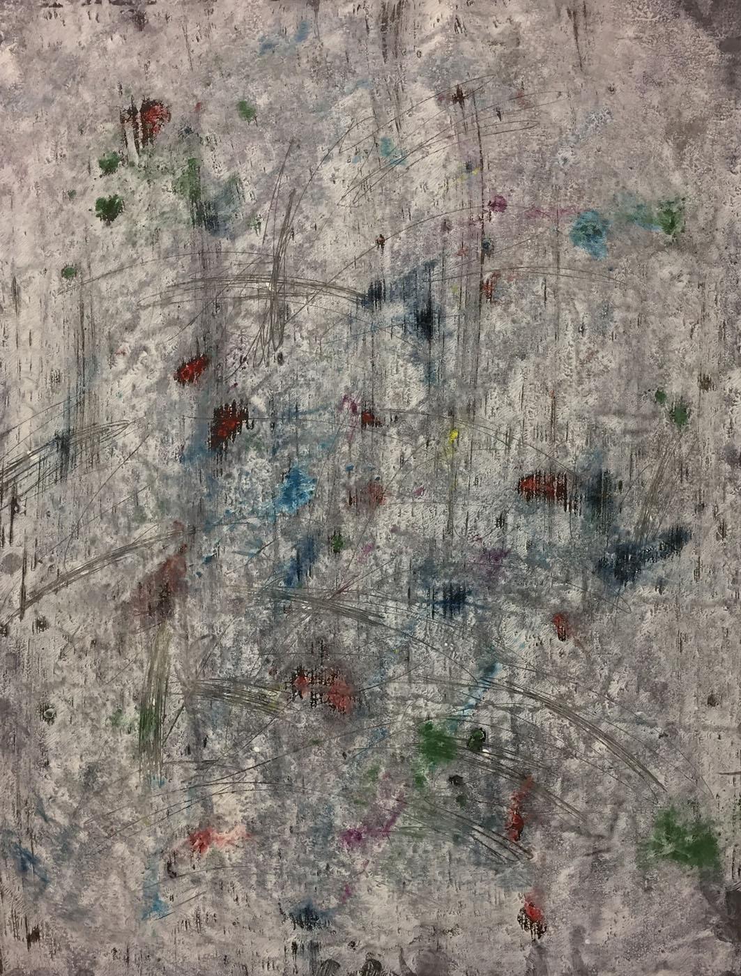 MARC FELD 2019 CONCERTINA Huile, acrylique, mine de plomb et pigment sur papier 50 x 65 cm