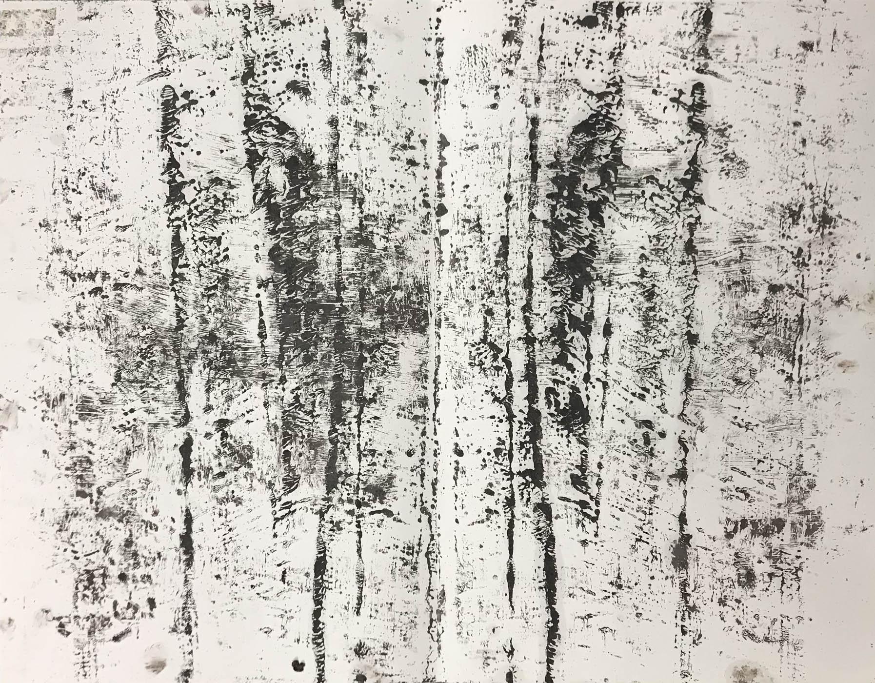 MARC FELD 2020 ÉCRITURES DU VENT Huile sur papier 50 x 65 cm