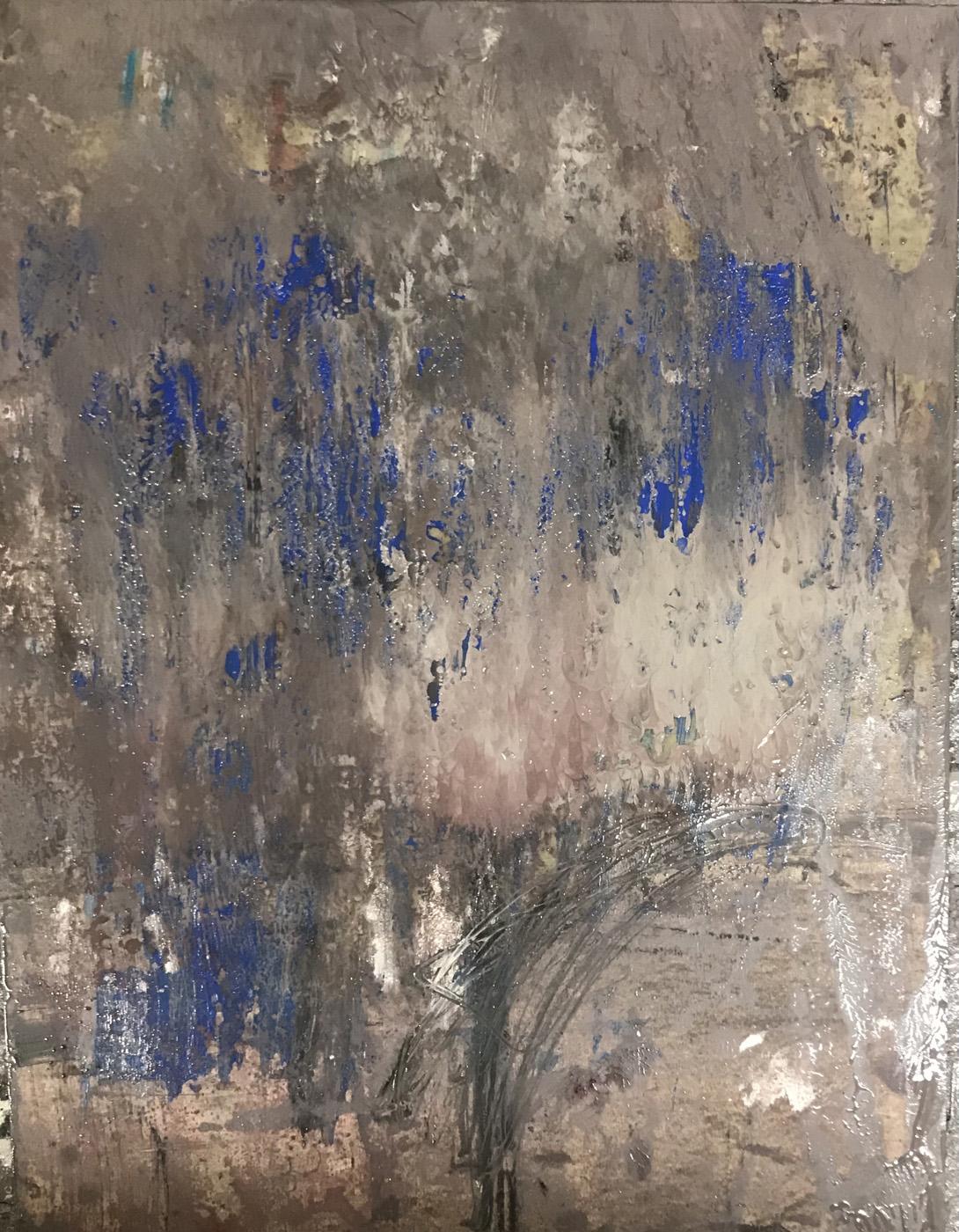 MARC FELD 2021 BLUE FALL Huile et mine de plomb sur papier 50 x 65 cm