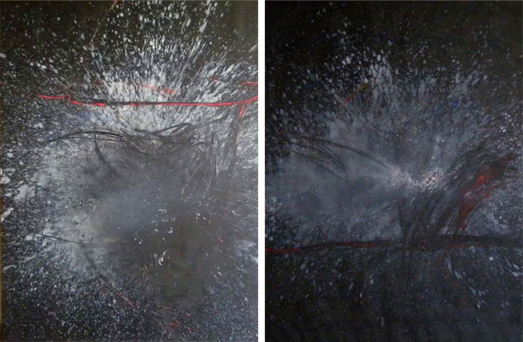 MARC FELD 2009  AU VIF DU MONDE  9/10   Huile et pigment sur toile 300 x 200 cm