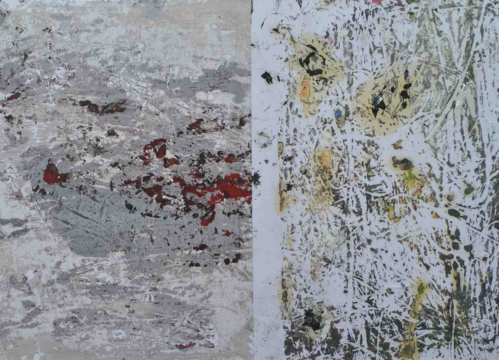 MARC FELD 2015 MA MÉTAPHYSIQUE EST UNE DANSE 2  ( chanson pour Kenneth White) Huile sur papier 48 x 42 cm
