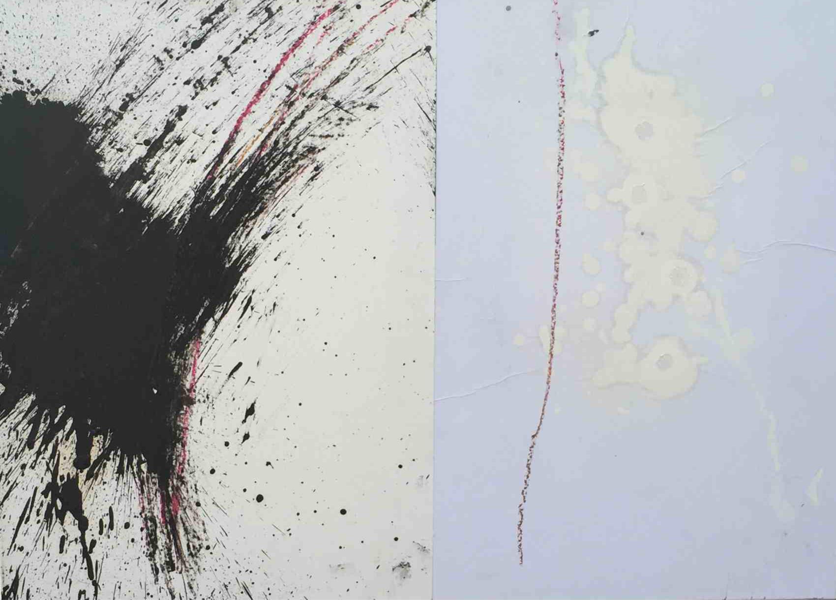 MARC FELD 2015 MA MÉTAPHYSIQUE EST UNE DANSE 3 ( chanson pour Kenneth White) Huile sur papier 48 x 42 cm