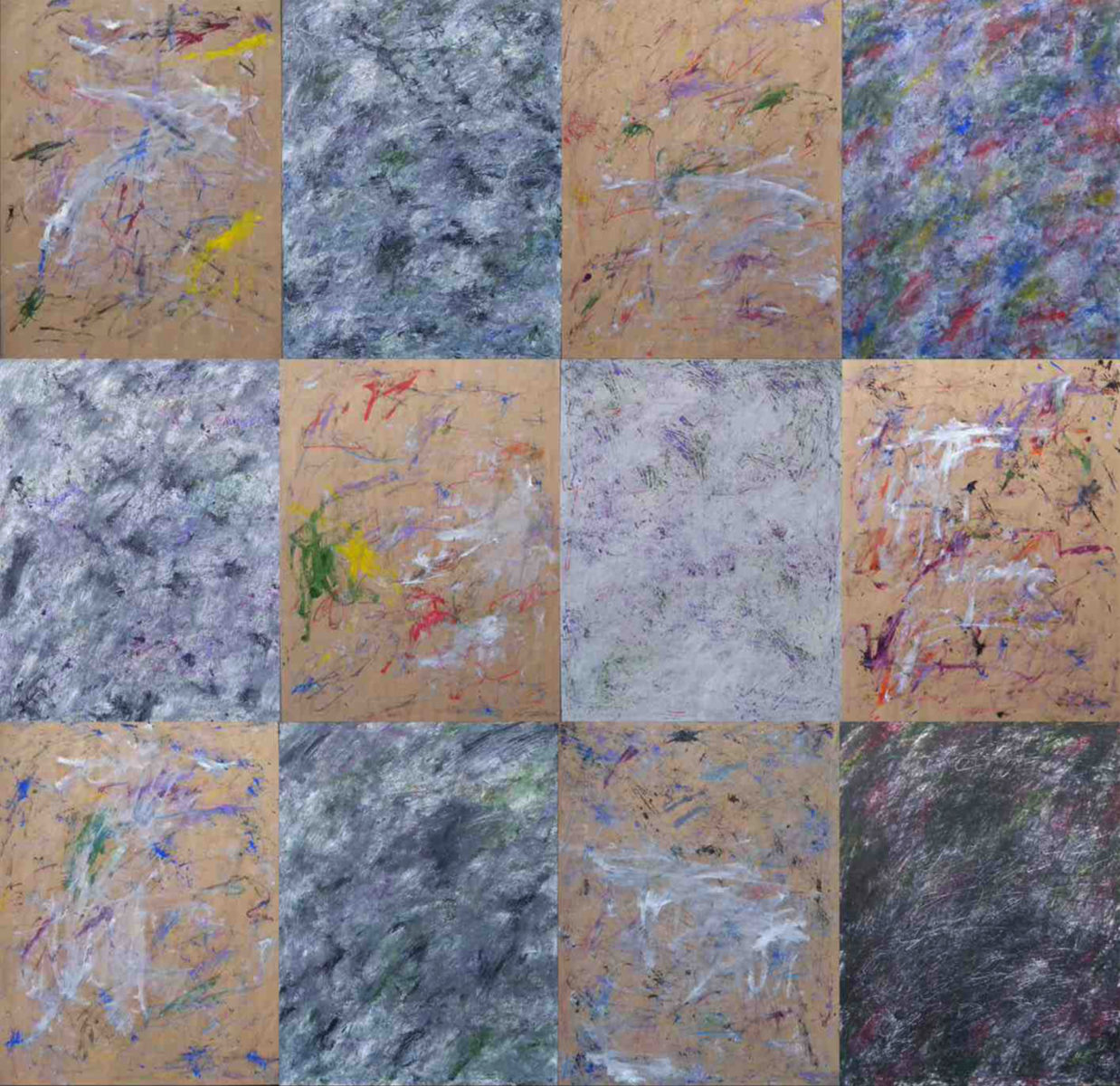 MARC FELD 2014 ALGORITHME 2  Huile et acrylique sur papier kraft marouflé sur toile 195 x 200 cm