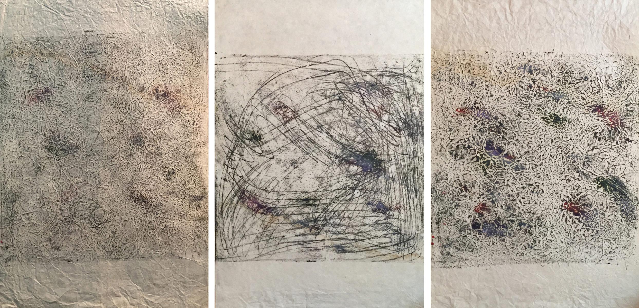 MARC FELD 2014 FRICHE 2  Huile sur papier 150 x 65 cm